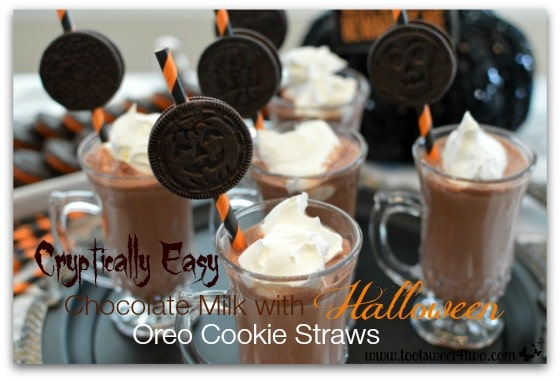 Cryptically Easy Chocolate Milk with Halloween Oreo Cookie Straws close-up