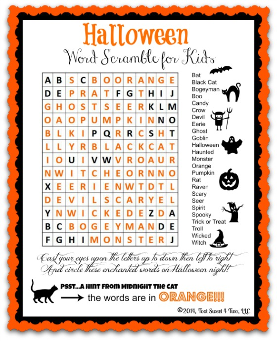 Halloween Word Scramble for Kids Pic 1