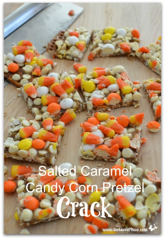 Salted Caramel Candy Corn Pretzel Crack - cut with pizza cutter