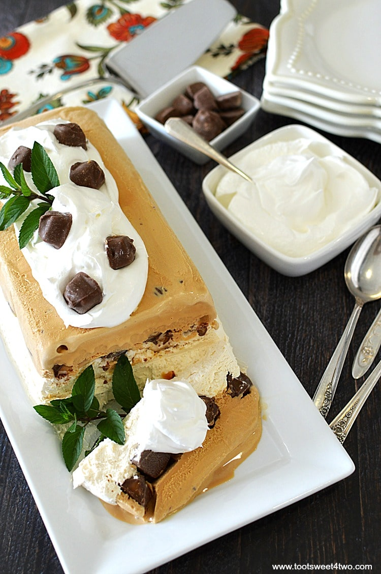 """Looking for unique cheesecake recipes? Look no further! Salted Caramel Icebox Cheesecake is an easy, frozen, no bake dessert that combines an easy-to-make cheesecake layer topped with Milky Way Bites and then layered with salted caramel gelato. Frozen for hours or overnight, unmold this luscious concoction onto a pretty platter and then top with dollops of Cool Whip and more candy. A spectacular-looking dessert, this delicious recipe will """"wow"""" friends and family.   www.tootsweet4two.com"""