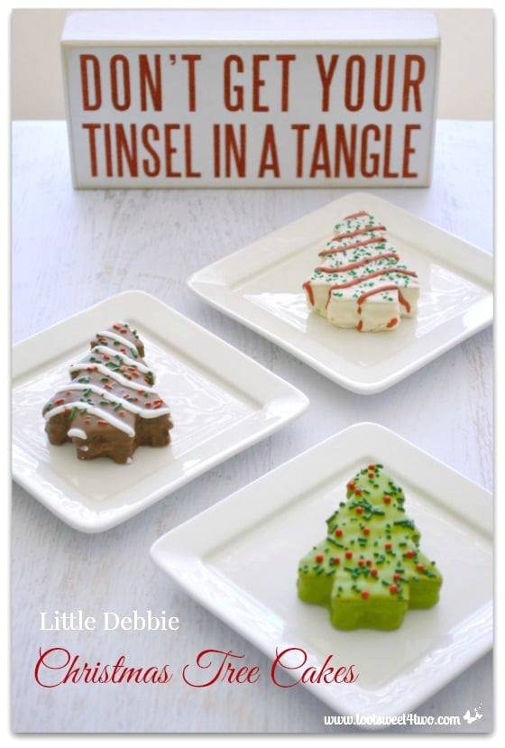 A trio of Little Debbie Christmas Tree Cakes