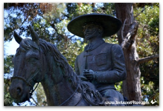 Close-up of Mexican Cowboy on Horseback sculpture, Presidio Park, San Diego
