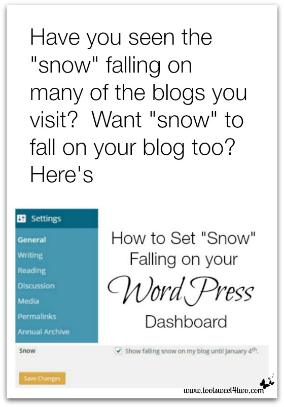 How to set snow falling on your WordPress dashboard