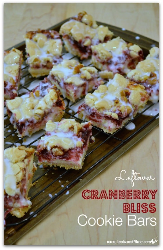 Leftover Cranberry Bliss Cookie Bars on cookie sheet