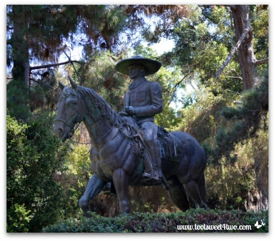 Mexican cowboy on horseback sculpture, Presidio Park, San Diego
