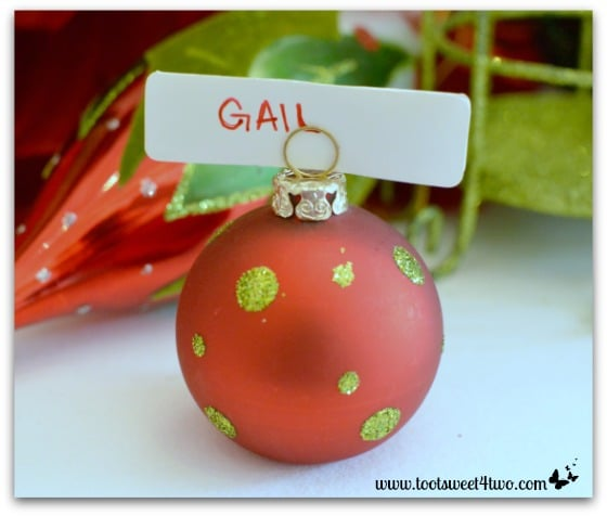 Ornament place card holder on Christmas table