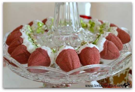 Strawberry ornaments on Christmas table