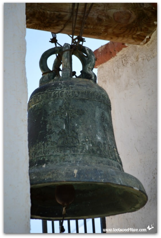 Close-up of bell in Bell Tower at Mission San Antonio de Pala