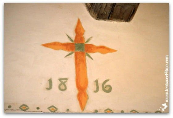 Cross with 1816 mural at Mission San Antonio de Pala