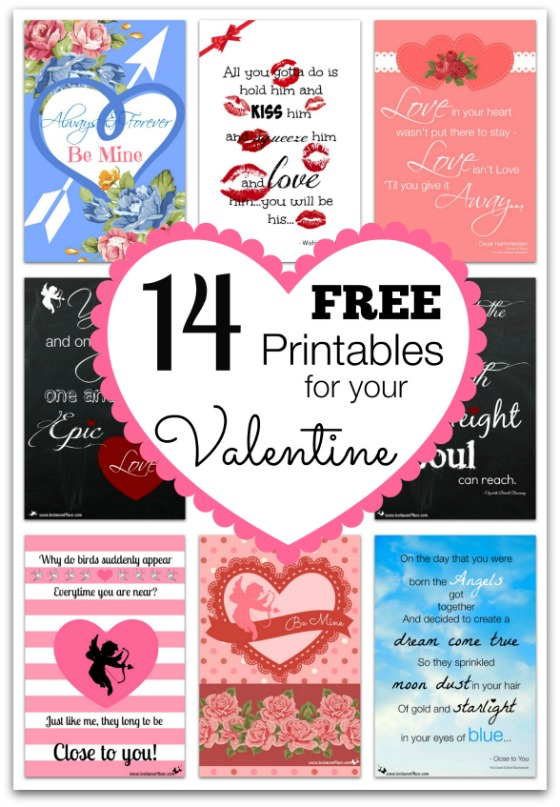 14 FREE Printables for Your Valentine collage