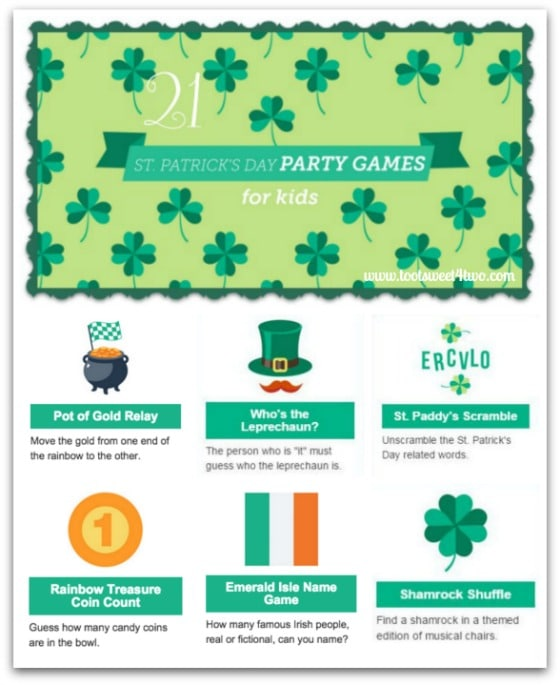 21 St. Patrick's Day Party Games for Kids collage - Toot Sweet 4 Two