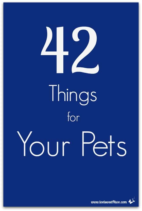 42 Things for Your Pets - are you a pet owner?  Did you know that you probably have 42 Things for Your Pets?  Visit www.tootsweet4two.com to get the list to add to your household inventory!
