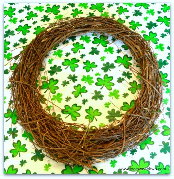 Grapevine wreath on shamrock tablecloth