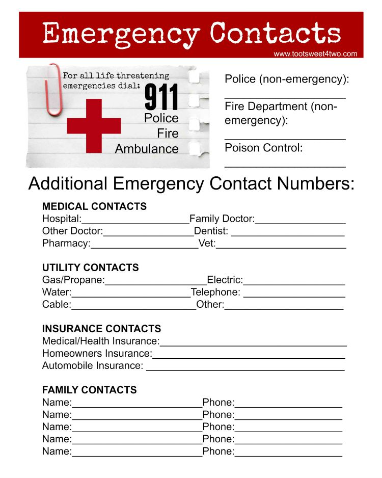Printable Family Emergency Contact Form,Family.Printable Coloring