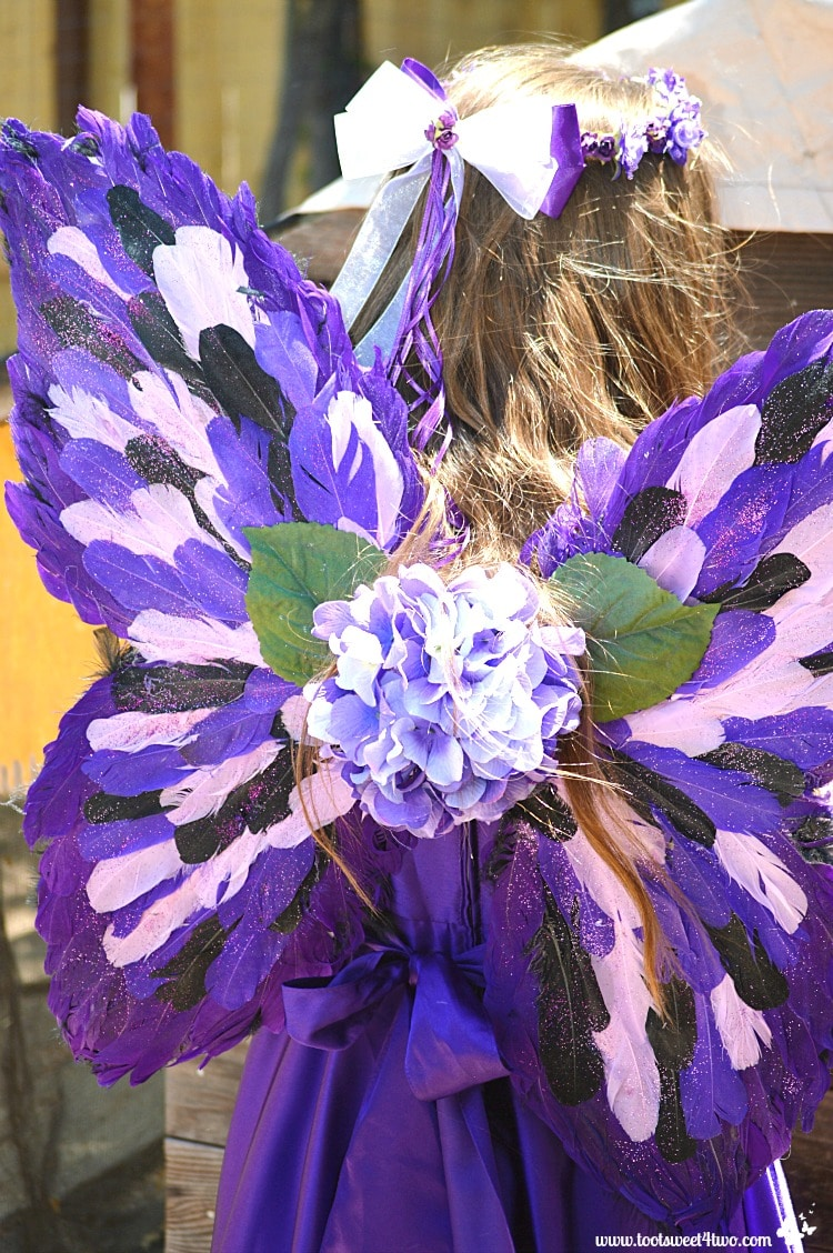 Purple feathered fairy wings