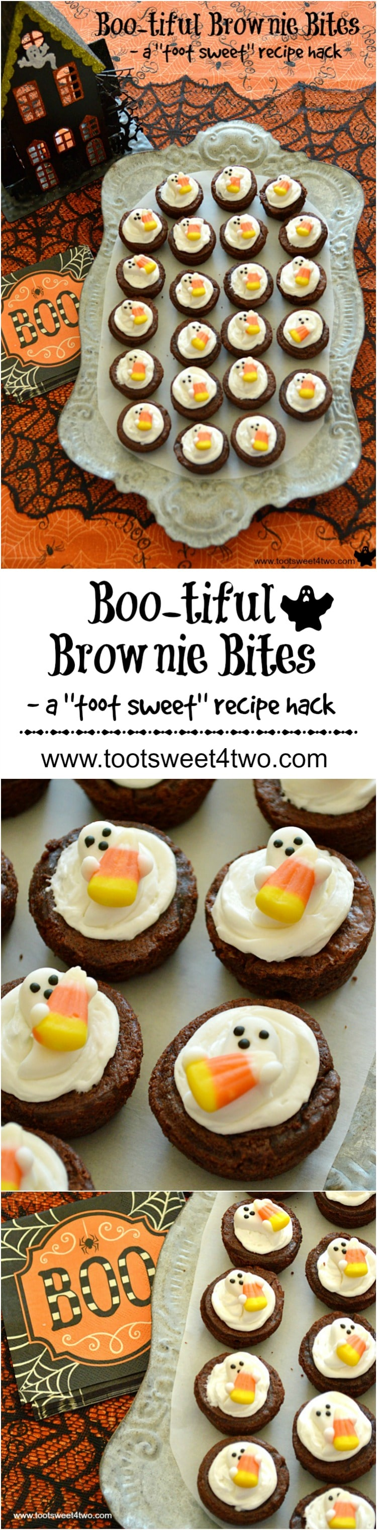 Boo-tiful Brownie Bites Pinterest collage