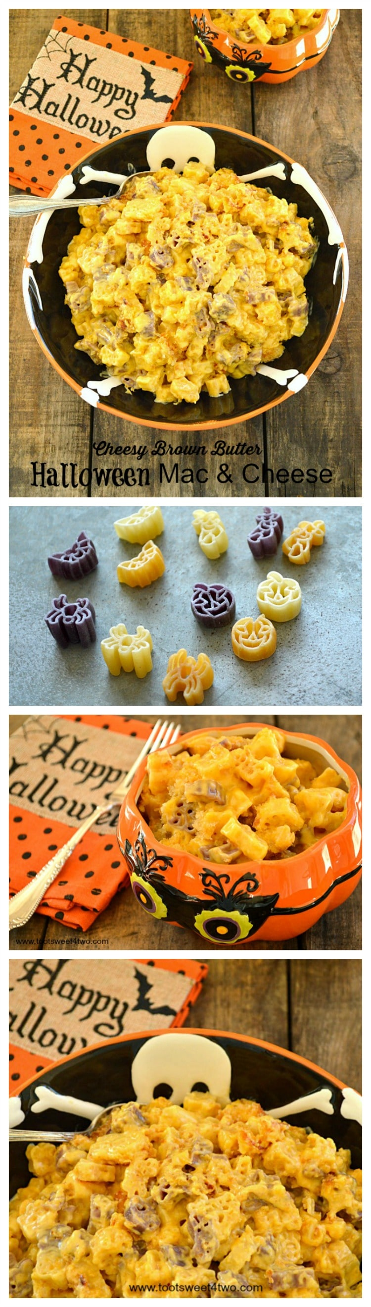 Cheesy Brown Butter Halloween Mac & Cheese Pinterest collage