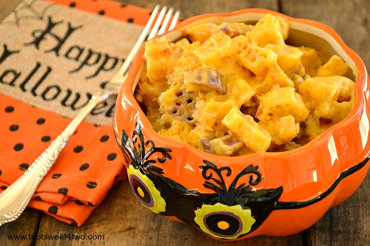 Cheesy Brown Butter Halloween Mac & Cheese in owl bowl