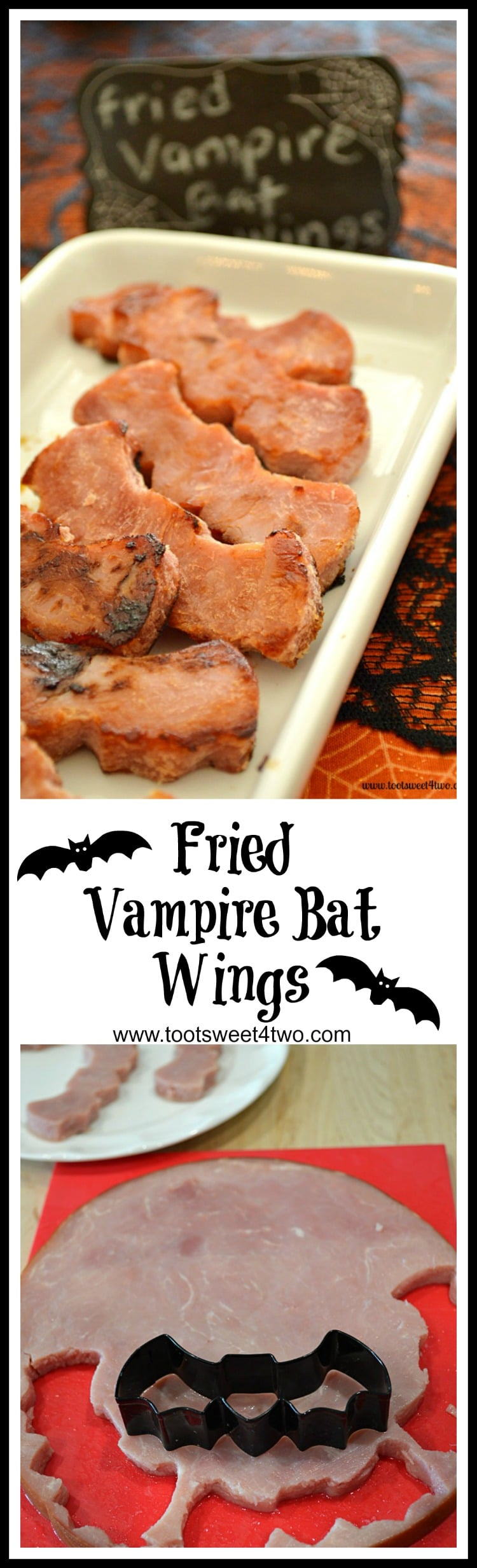 Want to make your Halloween breakfast or brunch special? Or, are you having a Halloween party? This Fried Vampire Bat Wings recipe is a fun and easy technique to make your Halloween breakfast, brunch or party special! Using thick slices of ham and a bat-shaped cookie cutter, make a batch for your next party. Kids love them and they'll wolf them down fast! | www.tootsweet4two.com