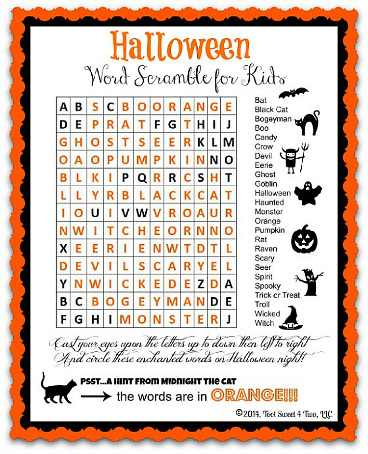 Halloween Word Scramble for Kids printable