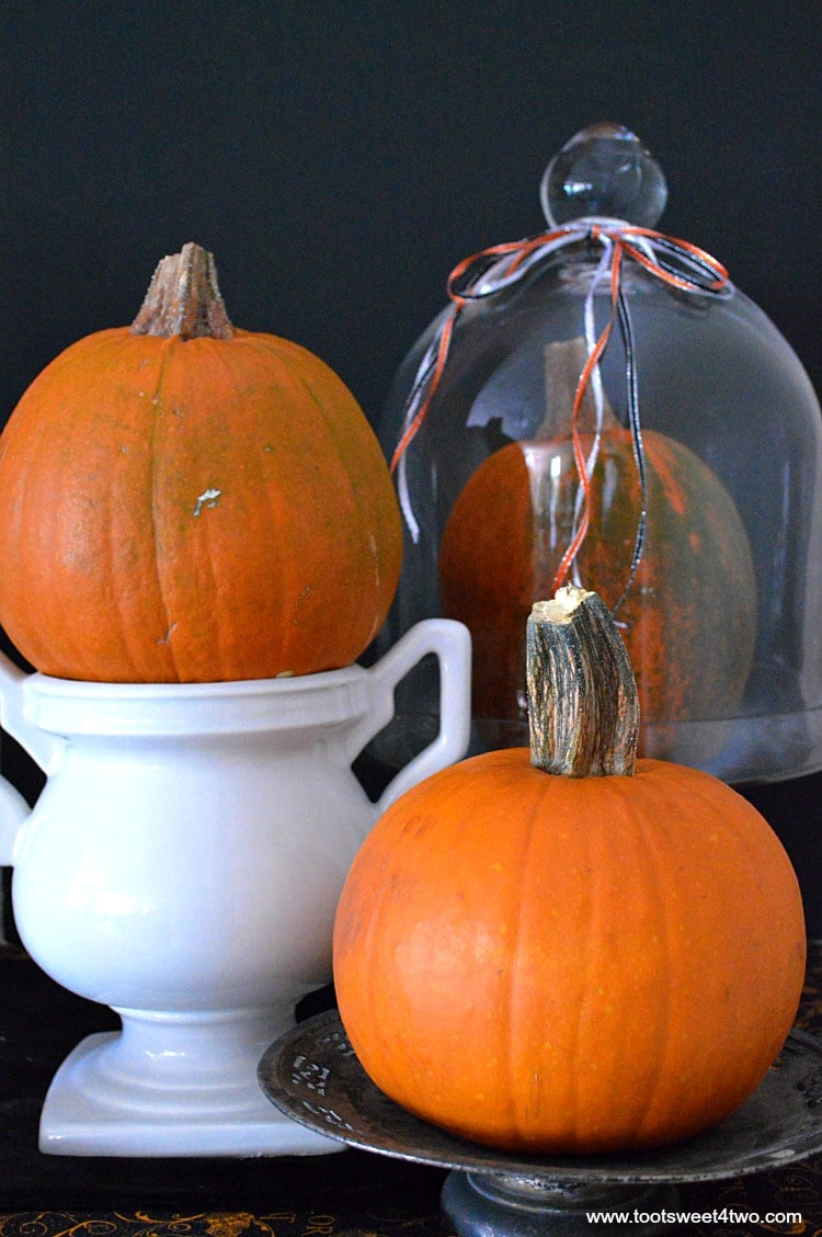 Pie pumpkins stacked on urn, silver pedestal and glass cloche