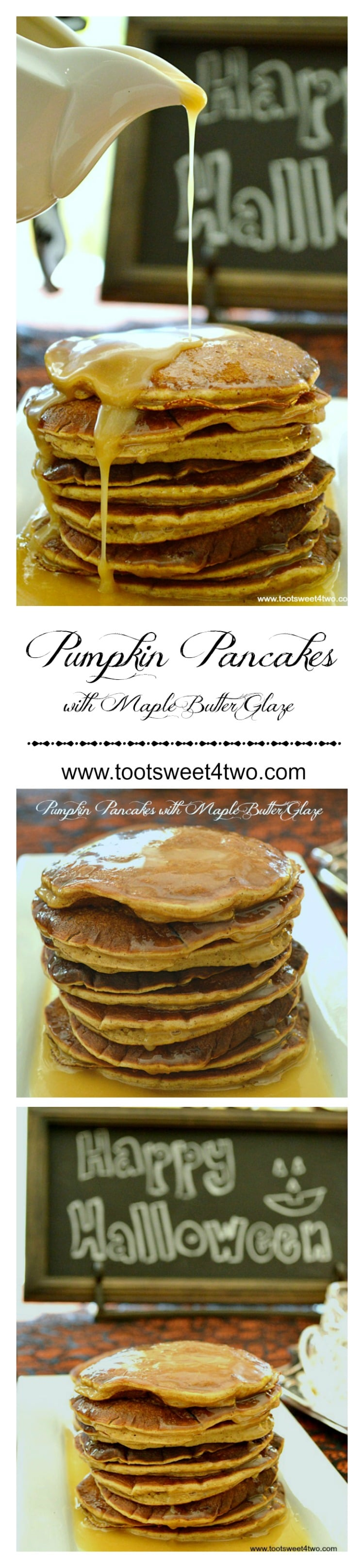 Pumpkin Pancakes with Maple Butter Glaze Pinterest collage