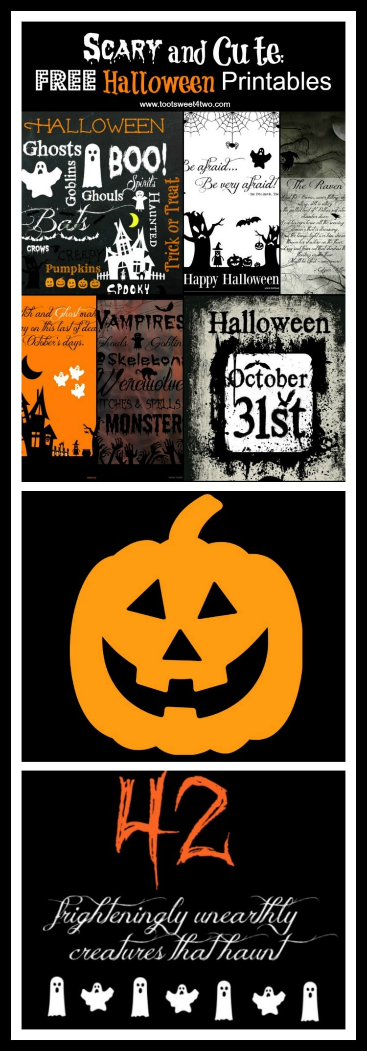 Scary and Cute Printables Pinterest