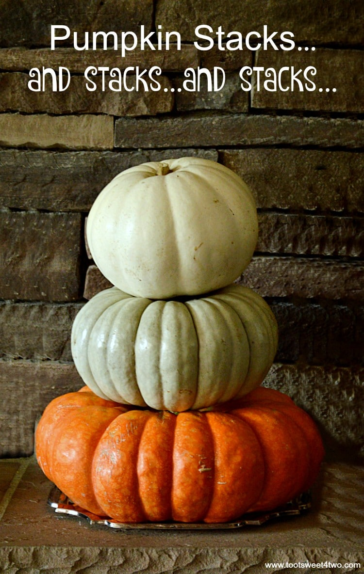 White Ghost, Jarrahdale and Cinderella pumpkins stacked - cover
