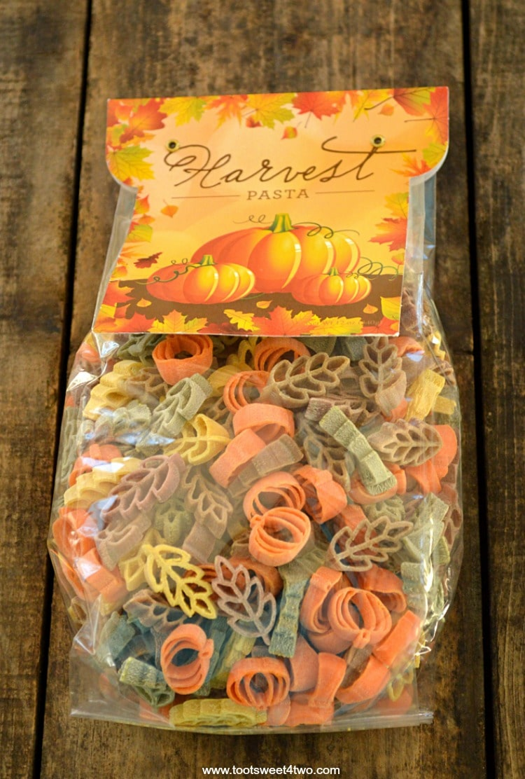 A bag of colorful Harvest Pasta