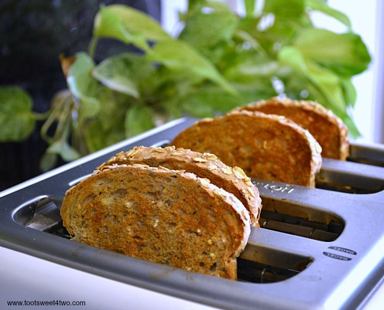 Bread toasting in toaster