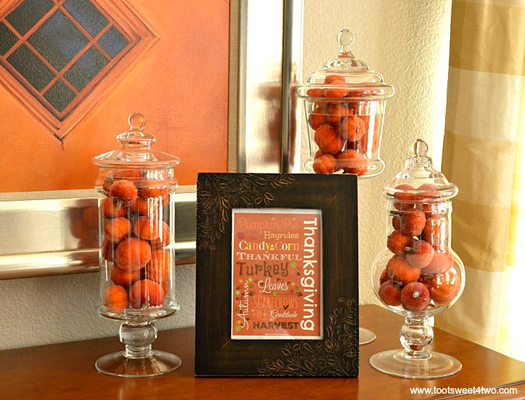 Framed Autumn printable with faux pumpkins