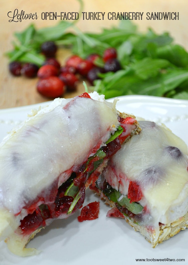 Leftover Open-faced Turkey Cranberry Sandwich - a delicious way to use Thanksgiving leftovers