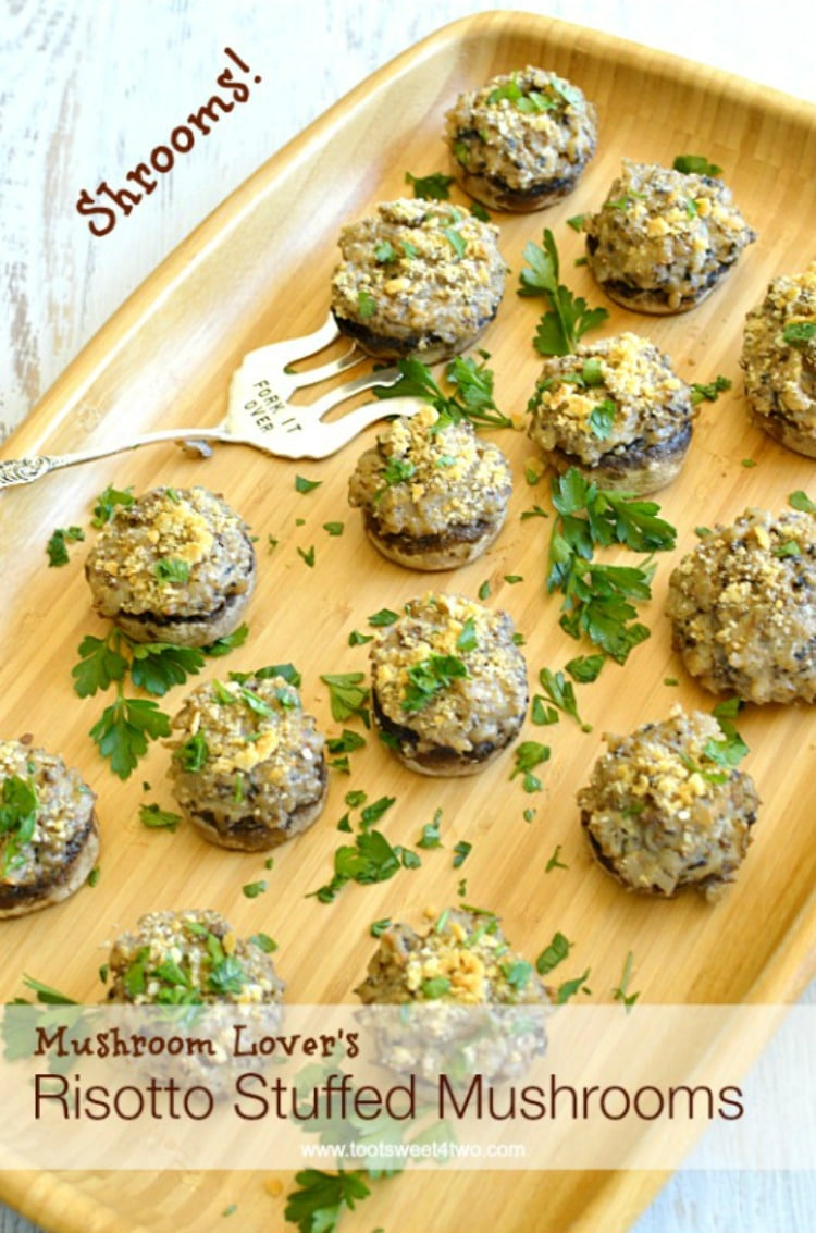 Thanksgiving Appetizer - Mushroom Lover's Risotto Stuffed Mushrooms