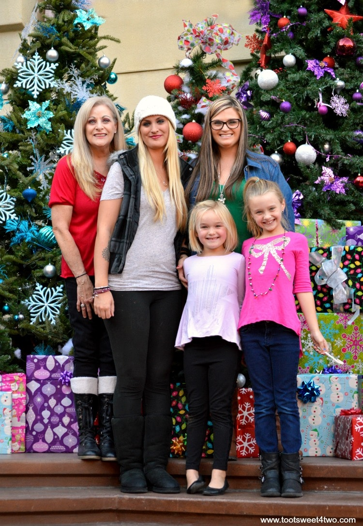 7-Gail, Samantha, Tiffany, Princess P and Princess Sweetie Pie in front of Christmas trees