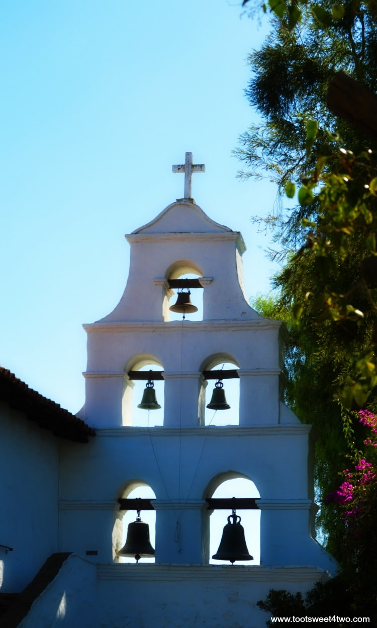Back side of bell tower at Mission San Diego de Alcala