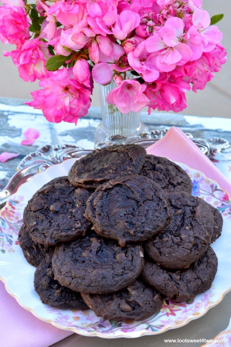 Dreamy Triple Chocolate Cookies - a plate full of deliciousness!