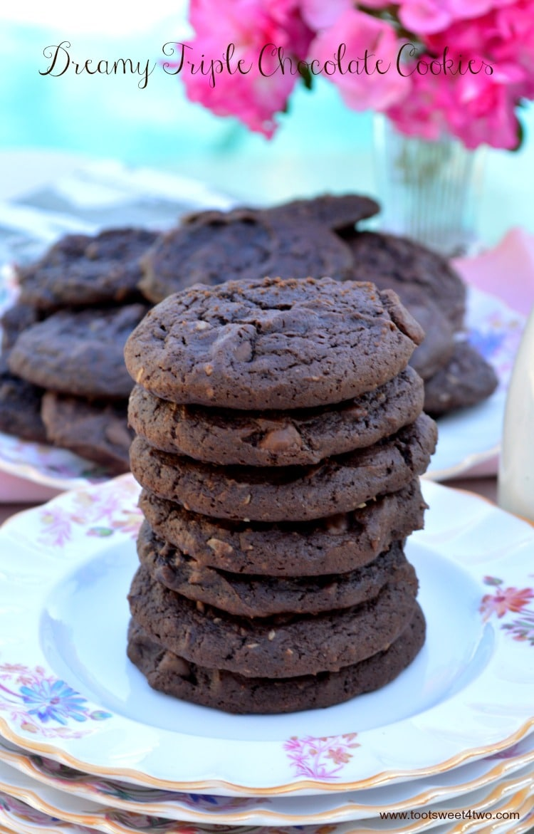 Dreamy Triple Chocolate Cookies - can you eat a stack?