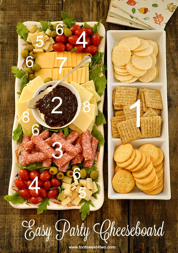 Easy Party Cheeseboard numbered with cheese, crackers, etc.