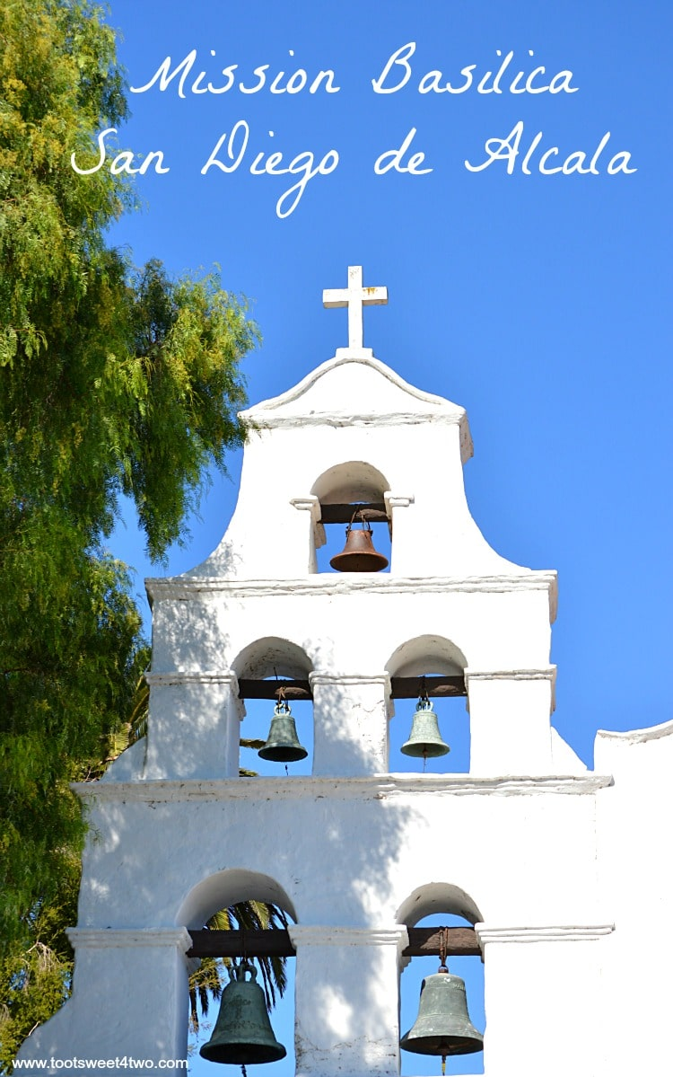 Front of bell tower at Mission Basilica San Diego de Alcala