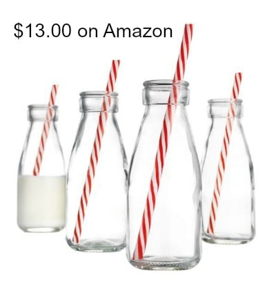 Glass Milk Bottle Jugs with Straws
