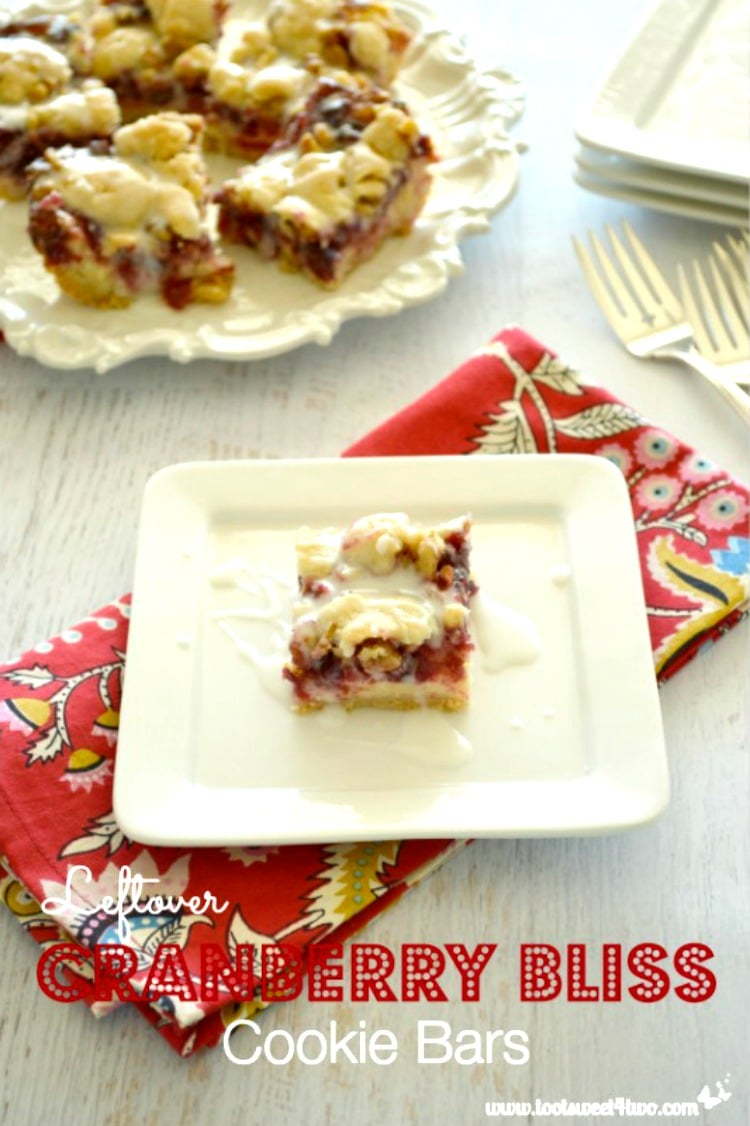 Leftover Cranberry Bliss Cookie Bars - a delicious way to use leftover cranberry sauce!