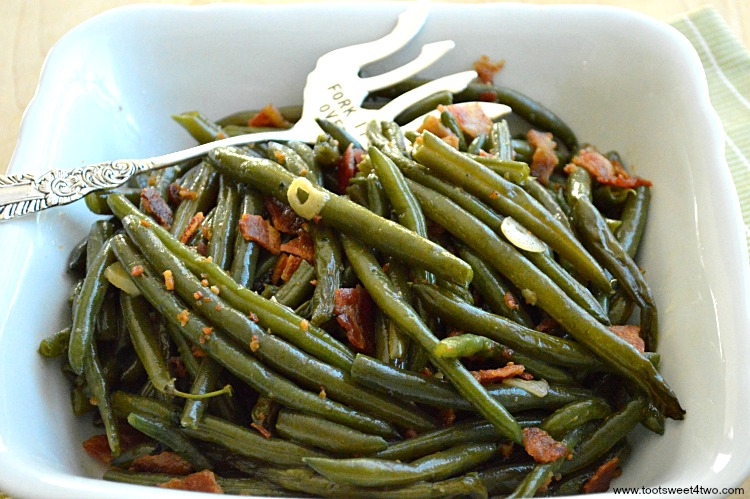 Leftover Holiday Green Bean made extra delicious with bacon and garlic!