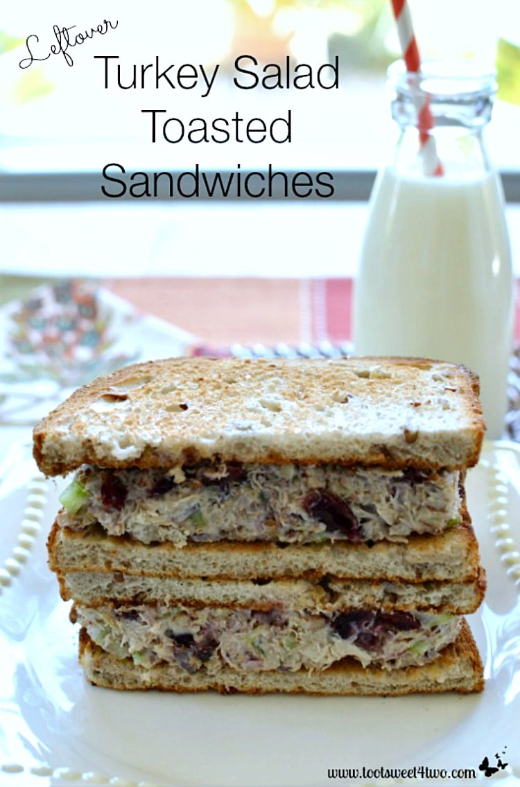 Leftover Turkey Salad Toasted Sandwiches - a delicious alternative to a Thanksgiving classic