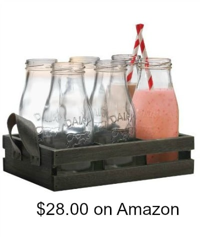 Milk Bottle Jugs and Wooden Crate