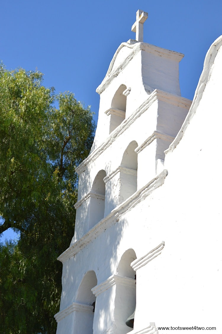 Side view of bell tower at Mission San Diego de Alcala