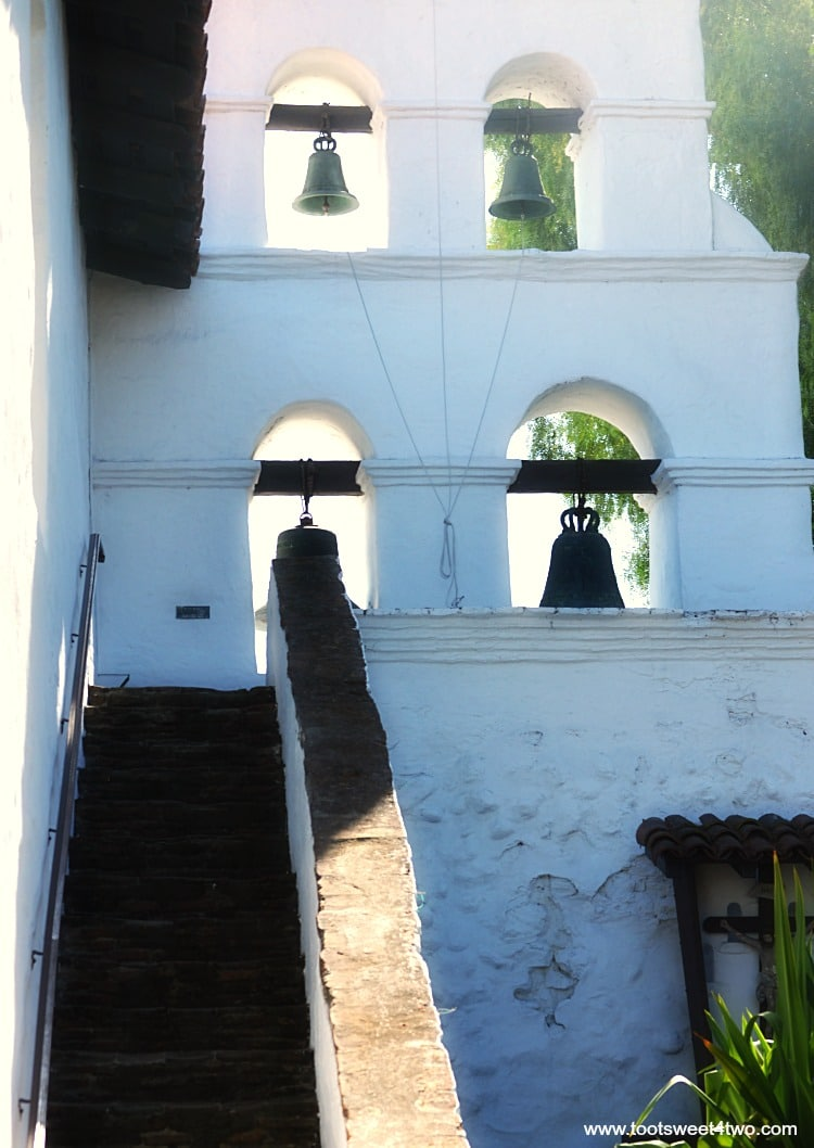 Stairway to bell tower at Mission San Diego de Alcala
