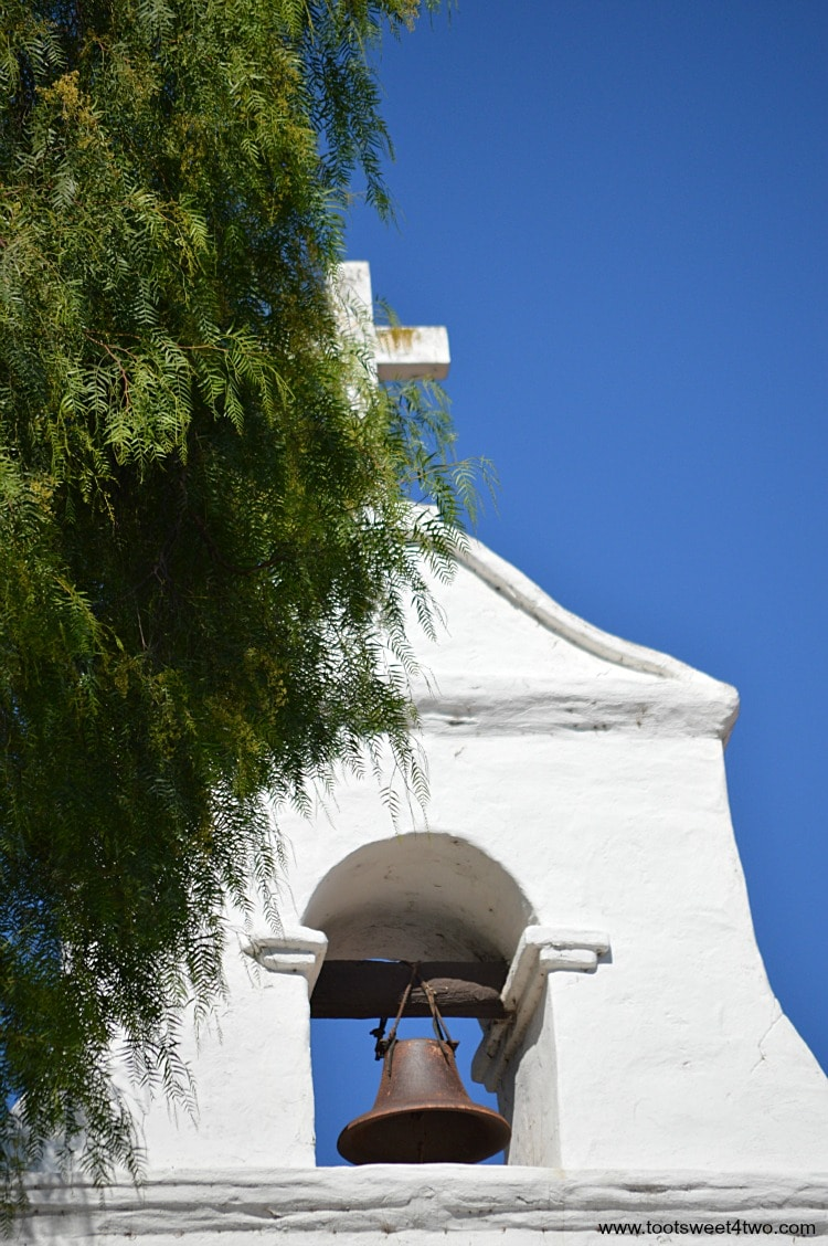 Top of bell tower at Mission San Diego de Alcala