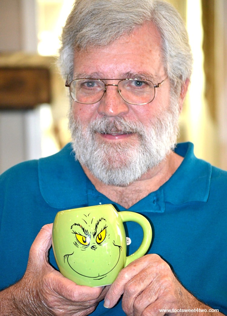 Charlie and his Grinch coffee cup