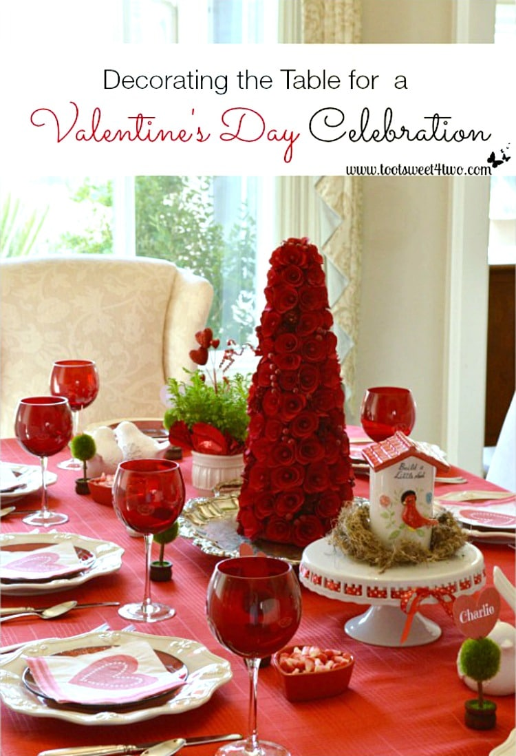 Decorating the Table for a Valentine's Day Celebration tablescape