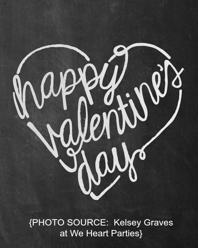 Free Printable Chalkboard Valentine from We Heart Parties